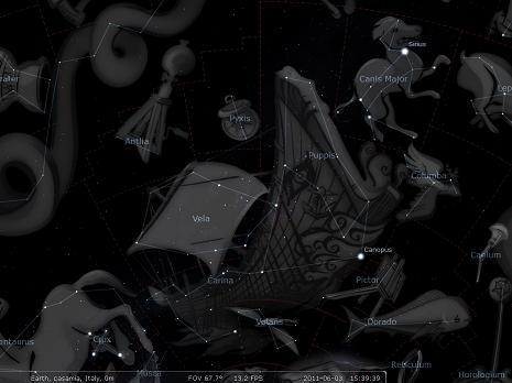 la Nave secondo Stellarium