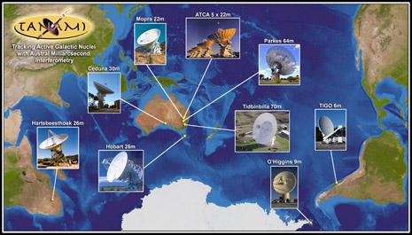 ubicazione dei radiotelescopi afferenti al progetto TANAMI