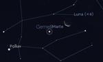 Congiunzione Luna - Marte, giorno 25 ore 05:00