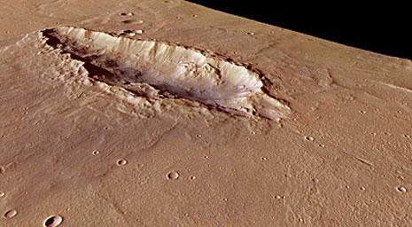lo stesso cratere elaborato in 3d dal computer