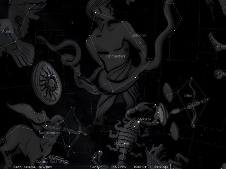 Ofiuco secondo Stellarium