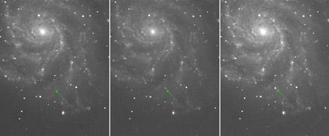 Tre immagini della supernova PTF 11kly in tre notti consecutive.