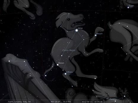 il cane maggioresecondo stellarium