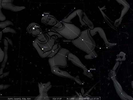 i Gemelli secondo stellarium