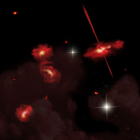 Raffigurazione artistica delle quattro galassie ultra-rosse scoperte da Spitzer
