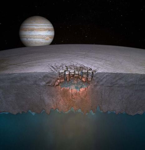 Una sezione (artistica) della spessa crosta di ghiaccio di Europa