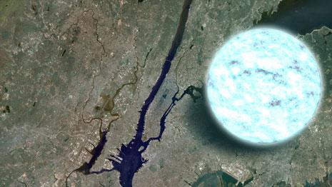 Una stella di neutroni sopra New York. Al centro la penisola di Manhattan.