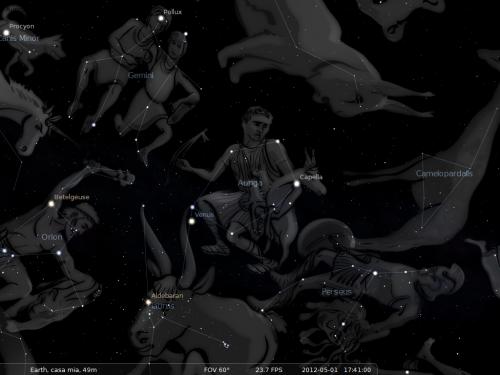 l'Auriga secondo Stellarium