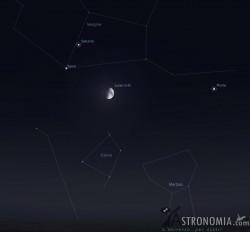 Congiunzione Luna - Saturno, giorno 28, ore 22:30