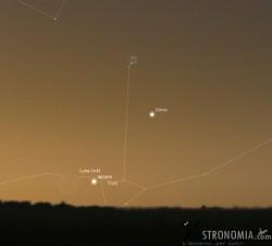 Congiunzione Luna - Venere - Giove - Pleiadi