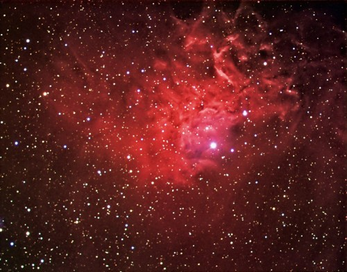 la rossa Flaming Star Nebula