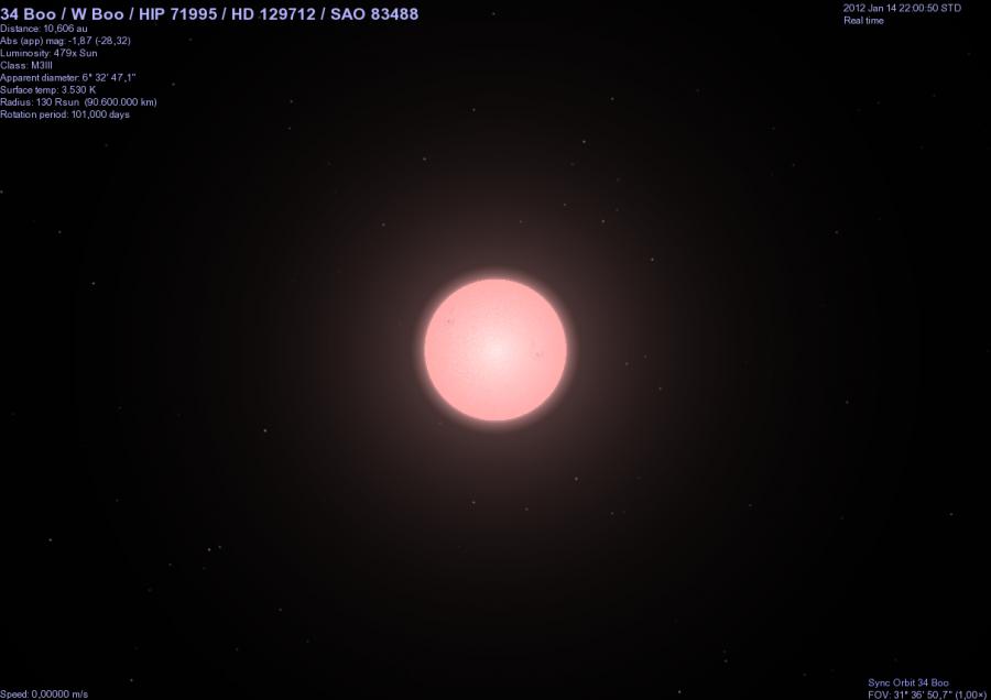 la stella 34 Boo dalla distanza di 10 UA