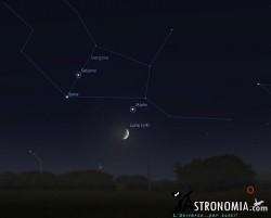 Congiunzione Luna - Marte, giorno 24 ore 22