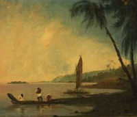 Panorama da Point Venus, Tahiti, dove Cook e i suoi uomini osservarono il transito di Venere. Olio su tela, William Hodges, 1744-1797. Credit: National Library of Australia.