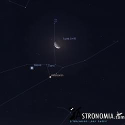 Congiunzione Luna - Giove - Pleiadi, giorno 11 ore 3:30