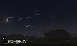 Congiunzione Luna - Marte, giorno 22 ore 21:00