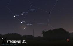 Congiunzione Luna - Marte - Saturno, giorno 21 ore 21:00