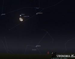 Congiunzione Luna - Giove, giorno 5 ore 23:00