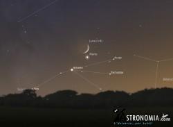 Congiunzione Luna - Marte, giorno 18 ore 19:00