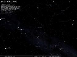 la costellazione di Cefeo con evidenziata una stella molto famosa