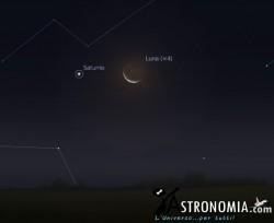 Congiunzione Luna - Saturno, giorno 10 ore 5