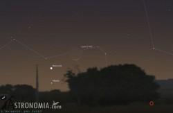 Congiunzione Luna - Marte - Mercurio, giorno 11 ore 18:30