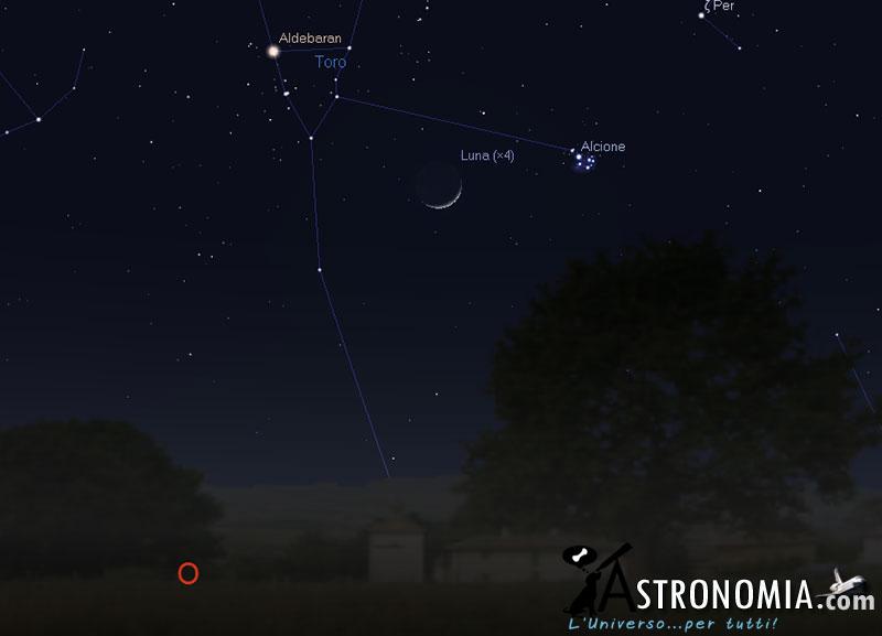 Congiunzione Luna - Pleiadi, giorno 13 ore 21:30