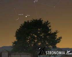 Congiunzione Luna - Giove, giorno 12 ore 21