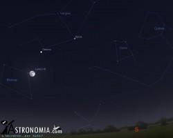 Congiunzione Luna - Saturno, giorno 23 ore 21:30