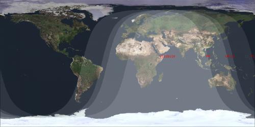 La zona di visibilità (la parte chiara) dell'evento nel mondo