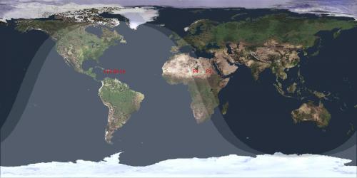 la zona di visibilità dell'evento nel mondo