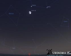 Congiunzione Luna - Saturno, giorno 19 ore 21:30