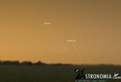 Congiunzione Luna - Giove, giorno 7 ore 05:00