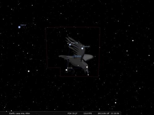 il Corvo secondo Stellarium
