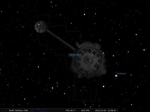 l'Orologio secondo Stellarium