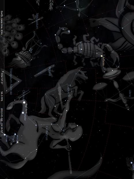 il Lupo all'interno di Stellarium