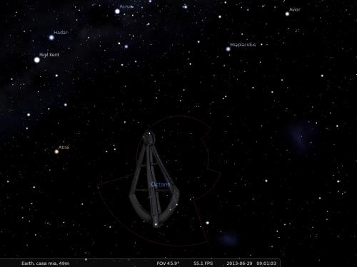 l'Ottante secondo Stellarium