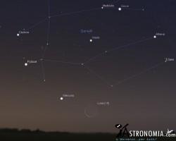 Congiunzione Luna - Mercurio, giorno 5 ore 5