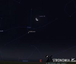 Congiunzione Luna - Pleiadi, giorno 27 ore 01:30