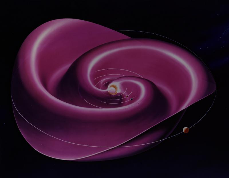 una rappresentazione del foglio di corrente eliosferico, che diventa sempre più ondulato quando si ha l'inversione di polarità del campo magnetico.