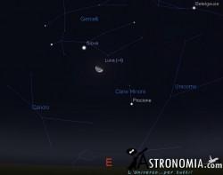 Congiunzione Luna - Giove, giorno 25 ore 00:00