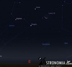 Congiunzione Luna -Marte, giorno 1 ore 5:30