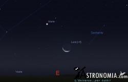 Congiunzione Luna - Marte, giorno 30 ore 05:00