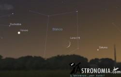 Congiunzione Luna - Saturno, giorno 7 ore 19:30
