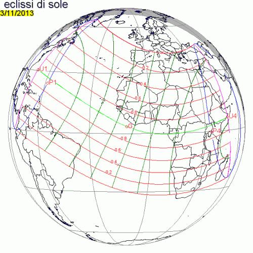 la mappa globale di visibilità dell'eclissi del 3 novembre