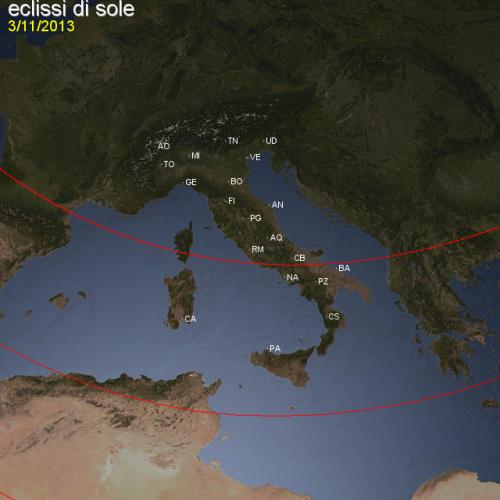 L'Italia divisa in due dal limite settentrionale dell'eclissi