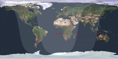 la proiezione di Mercatore in cui è indicata la zona di visibilità dell'eclissi