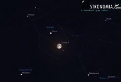 Congiunzione Luna - Giove, giorno 14 ore 23:30