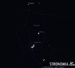 Congiunzione Luna - Giove, giorno 6 ore 21:30