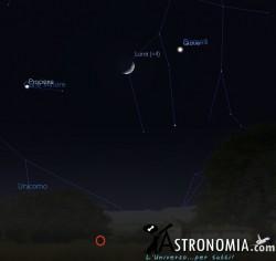 Congiunzione Luna - Giove, giorno 4 ore 22:30